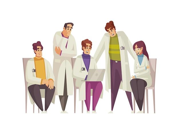 Männliche und weibliche ärzte haben medizinische konferenzkarikatur