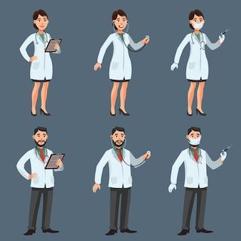 Männliche und weibliche ärzte in verschiedenen posen. mann und frau im cartoon-stil.