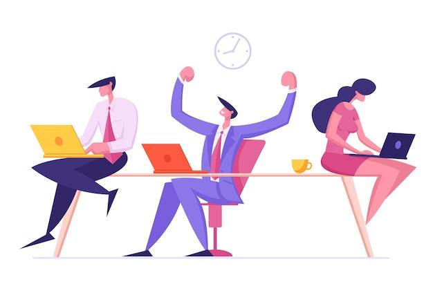 Männliche und weibliche angestellte charaktere, die am büroarbeitsplatz sitzen