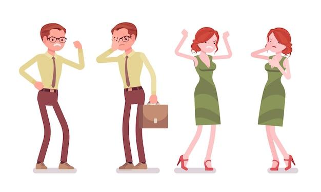 Männliche und weibliche angestellte negative emotionen