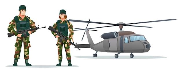 Männliche und weibliche armeesoldaten, die waffengewehre mit militärhubschrauberkarikaturillustration halten