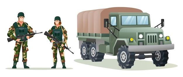 Männliche und weibliche armeesoldaten, die waffengewehre mit militärischer lkw-karikaturillustration halten