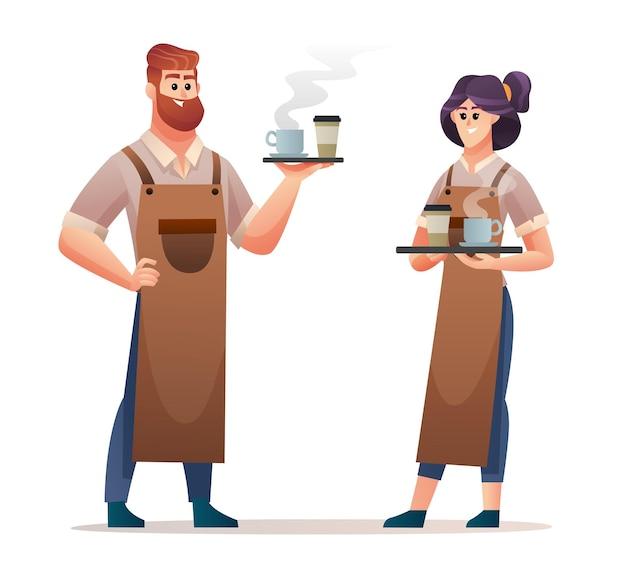 Männliche und weibliche barista-charaktere, die kaffee tragen