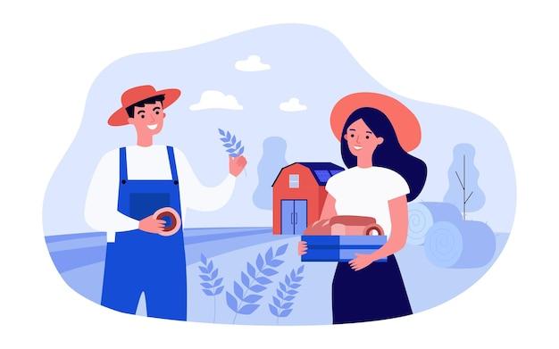 Männliche und weibliche bauern mit selbstgebackenem brot vor der scheune. glückliches paar, das brot in der flachen vektorillustration der landschaft macht. landwirtschaft, bäckereikonzept für banner, website-design oder landing page