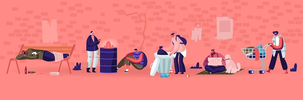 Männliche und weibliche bettler-charaktere, die zerlumpte kleidung tragen, heben müll auf der straße zum einkaufswagen auf, obdachlose erwachsene arme leute, penner, die geld betteln und hilfe brauchen cartoon-flache vektor-illustration