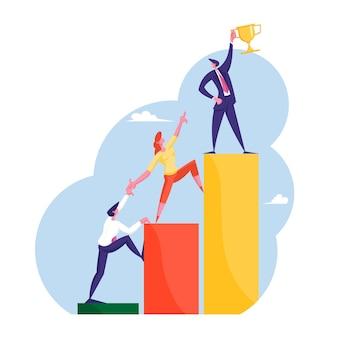 Männliche und weibliche büroangestellte, manager oder angestellte charaktere, die auf aufsteigender karte klettern