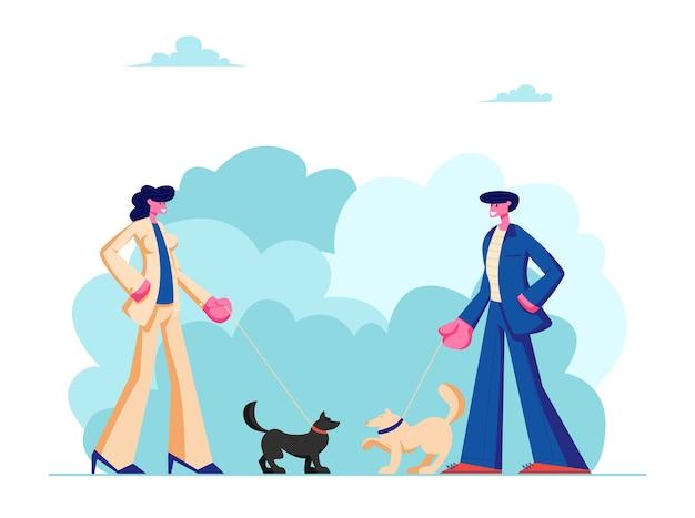 Männliche und weibliche charaktere, die mit hunden im öffentlichen stadtpark gehen.
