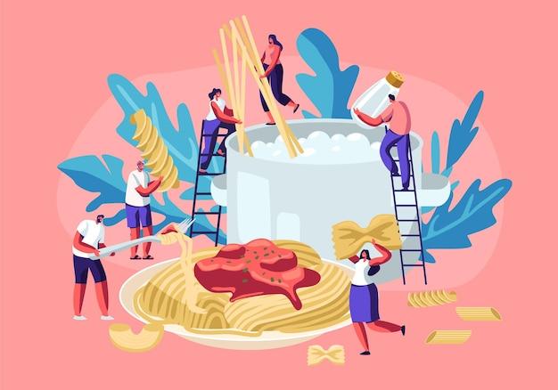 Männliche und weibliche charaktere, die pasta kochen, spaghetti und trockene makkaroni verschiedener art setzen