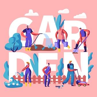 Männliche und weibliche charaktere, die pflanzen im gartenkonzept anbauen und pflegen. karikatur flache illustration