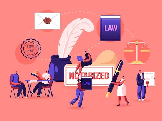Männliche und weibliche charaktere erhalten ein notar-servicekonzept.