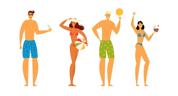 Männliche und weibliche charaktere verbringen zeit am exotischen resort beach