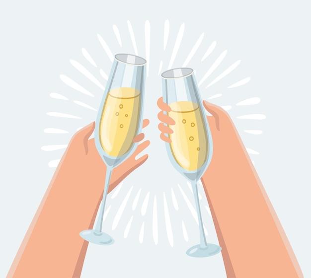 Männliche und weibliche hand, die champagnergläser hält