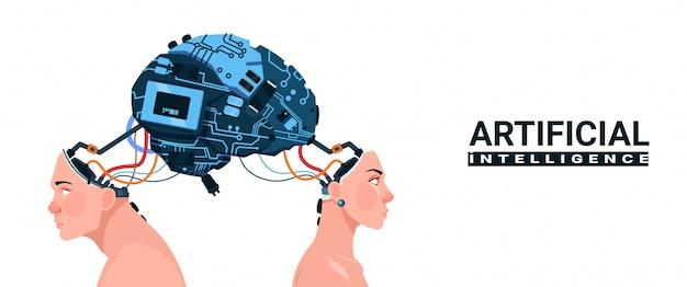 Männliche und weibliche köpfe mit dem modernen cyborg-gehirn lokalisiert auf künstlicher intelligenz des weißen hintergrundes