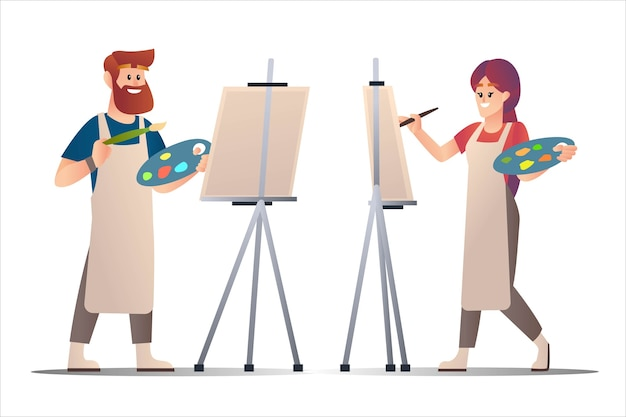 Männliche und weibliche künstler, die auf leinwandcharakter-karikaturillustration malen