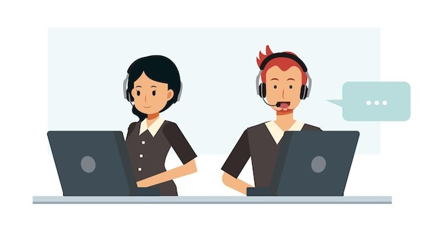 Männliche und weibliche kundenservice und call-center-charakter flache cartoon-vektor-illustration.