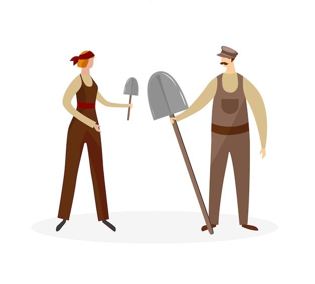 Männliche und weibliche landarbeiter charaktere.
