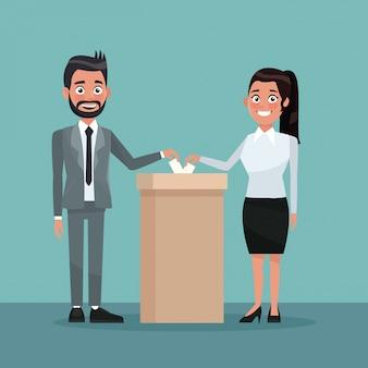 Männliche und weibliche leute der hintergrundszenen-paare in der klage des formellen anzuges in der urne für kandidaten