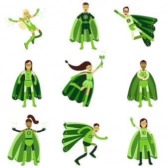 Männliche und weibliche öko-superhelden-charaktere setzen, junge leute in verschiedenen posen mit grünen umhängen