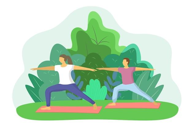 Männliche und weibliche paare, die sport im freien machen, vektorkonzept entspannen sie sich erholung erholung gymnastik