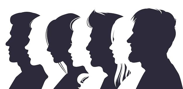 Männliche und weibliche profilgesichter silhouetten