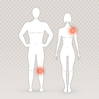 Männliche und weibliche silhouetten mit schmerzkreisen