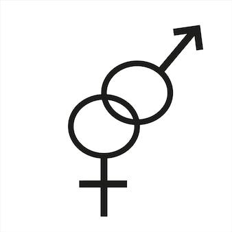 Männliche und weibliche symbole auf weißem hintergrund vektor-illustration