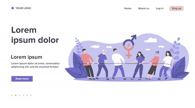 Männliche und weibliche teams ziehen seil