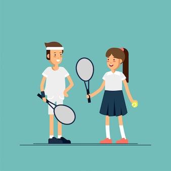 Männliche und weibliche tennisspieler