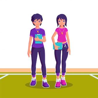 Männliche und weibliche trainer sport cartoon charakter illustration