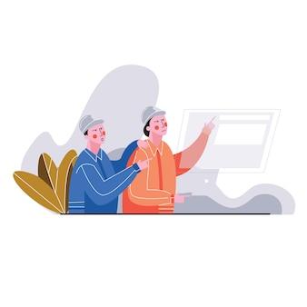Männliche und weibliche wirtschaftsingenieure besprechen neues projekt bei der anwendung des laptops