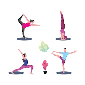 Männliche und weibliche yoga-set