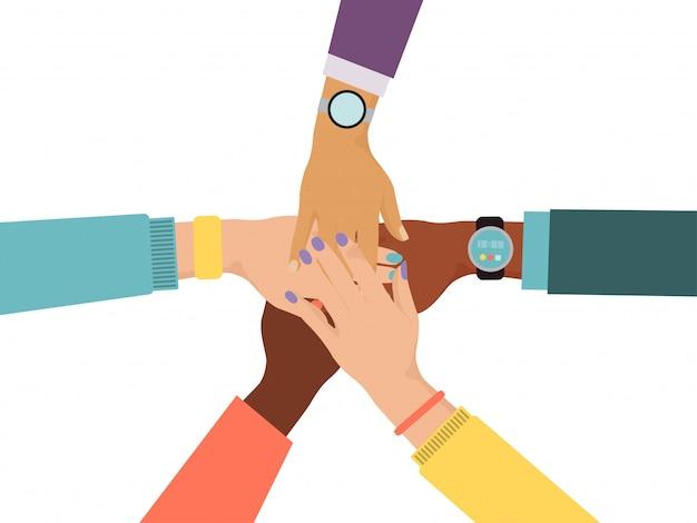 Männliche weibliche andere rassenhand lokalisiert auf weiß, illustration. menschen mann, frau zusammen und halten hand.