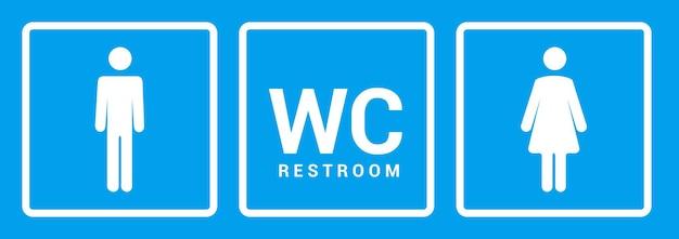 Männliche weibliche badezimmer-symbol. zeichensymbol für toilettenjunge oder -mädchen. toiletten-wc-vektor-konzept.