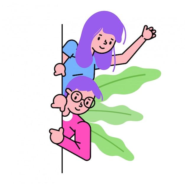 Männliche weibliche figur zeigen nach unten, neugierig gucken nach unten, menschen zusammen auf weiß anzeigen, illustration.