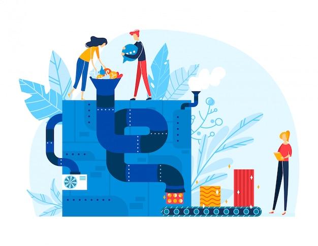 Männliche weibliche informationsverarbeitung des kleinen charakters männlich, großer fördererfabrik-datenserver isoliert auf weißer, flacher illustration.