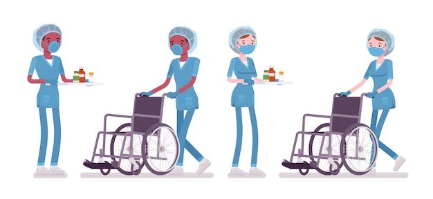 Männliche, weibliche krankenschwester, die medizinische prozedur tut, rollstuhl schiebend