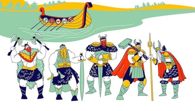 Männliche wikinger-charaktere, die häute, helme mit hörnern tragen und rüstungsschwerter und äxte halten
