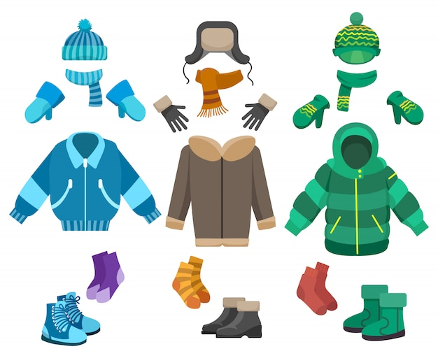 Männliche winterkleidung festgelegt