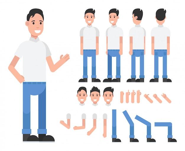 Männliche zeichentrickfigur für bewegung