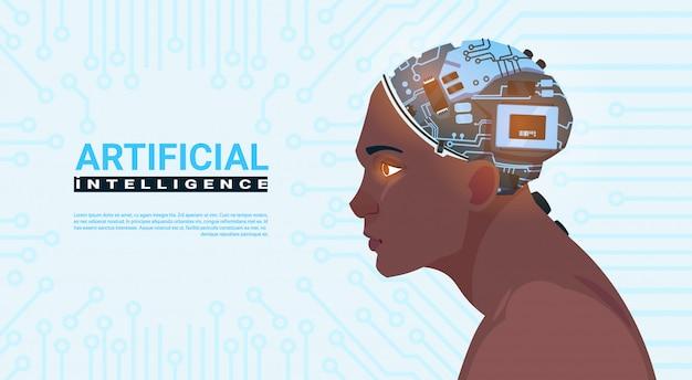 Männlicher afroamerikaner-kopf mit modernem cyborg-gehirn über stromkreis-motherboard-hintergrund