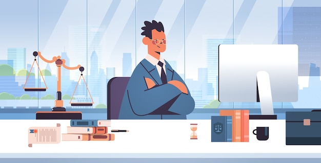 Männlicher anwalt, der am arbeitsplatz sitzt rechtsrechtsberatung und rechtskonzept rechtsberater, der am computer arbeitet modernes büroinnenporträt horizontale vektorillustration