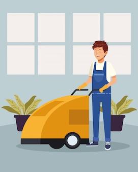 Männlicher arbeiter der hauswirtschaft mit avatarcharakter des reinigungswagens