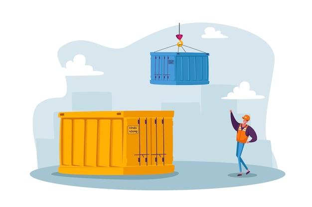 Männlicher arbeitercharakter im seehafen. spediteur arbeitet am hafen des containerterminals