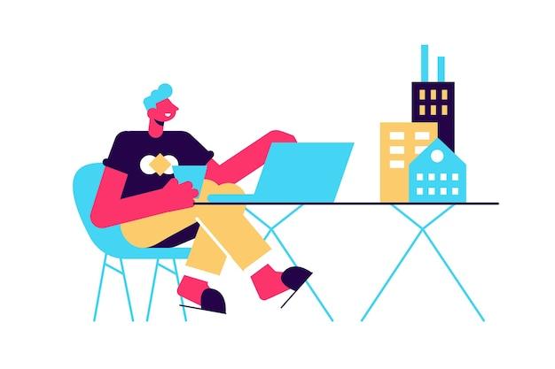 Männlicher architekt er arbeitet am laptop mit mini-gebäudemodellen auf tabellenillustration.