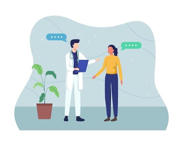 Männlicher arzt, der antragsformular hält, während er patienten konsultiert, arzt, der mit weiblichem patienten im büro spricht. medizin- und gesundheitskonzept.