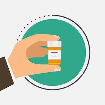 Männlicher arzt, der behälter mit heilung in seinen händen hält. tabletten in der hand. kapseln in ihren händen.