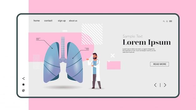 Männlicher arzt, der die menschliche lunge untersucht ärztliche beratung interne organinspektion untersuchungskonzept horizontaler kopierraum in voller länge