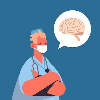 Männlicher arzt in der schutzmasken-chatblase mit der medizinischen medizin des menschlichen gehirns