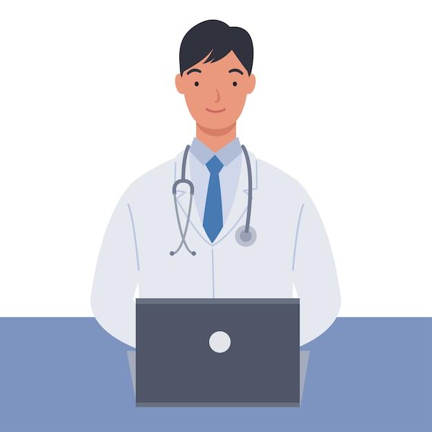 Männlicher arzt in weißen medizinischen mänteln, die mit seinem laptop arbeiten. illustration in einem flachen stil