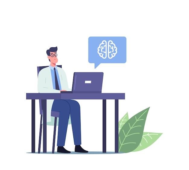 Männlicher arzt in weißer medizinischer robe, der am schreibtisch mit laptop sitzt und tomographie des menschlichen gehirns mit krankheitssymptomen lernt. aneurysma, demenz oder apoplexie-krankheit-konzept. cartoon-vektor-illustration